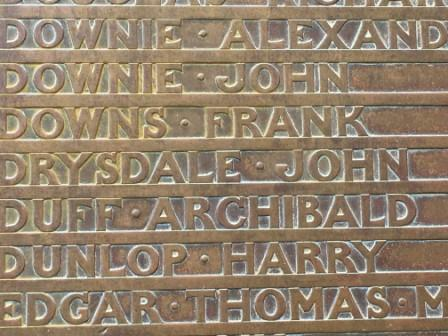 Memorial plaque with name of Frank Downs.
